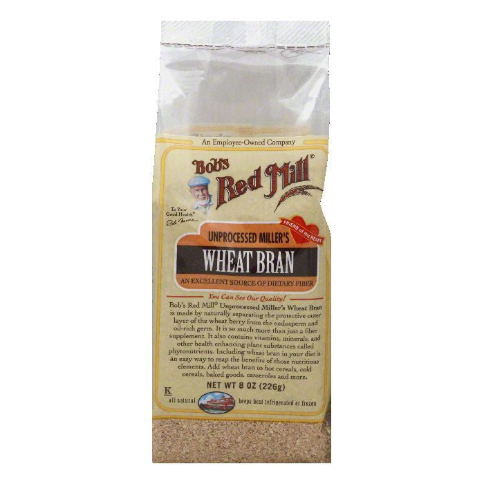Bobs Red Mill Unprocessed Miller's Wheat Bran, 8 Oz (Pack of 4)