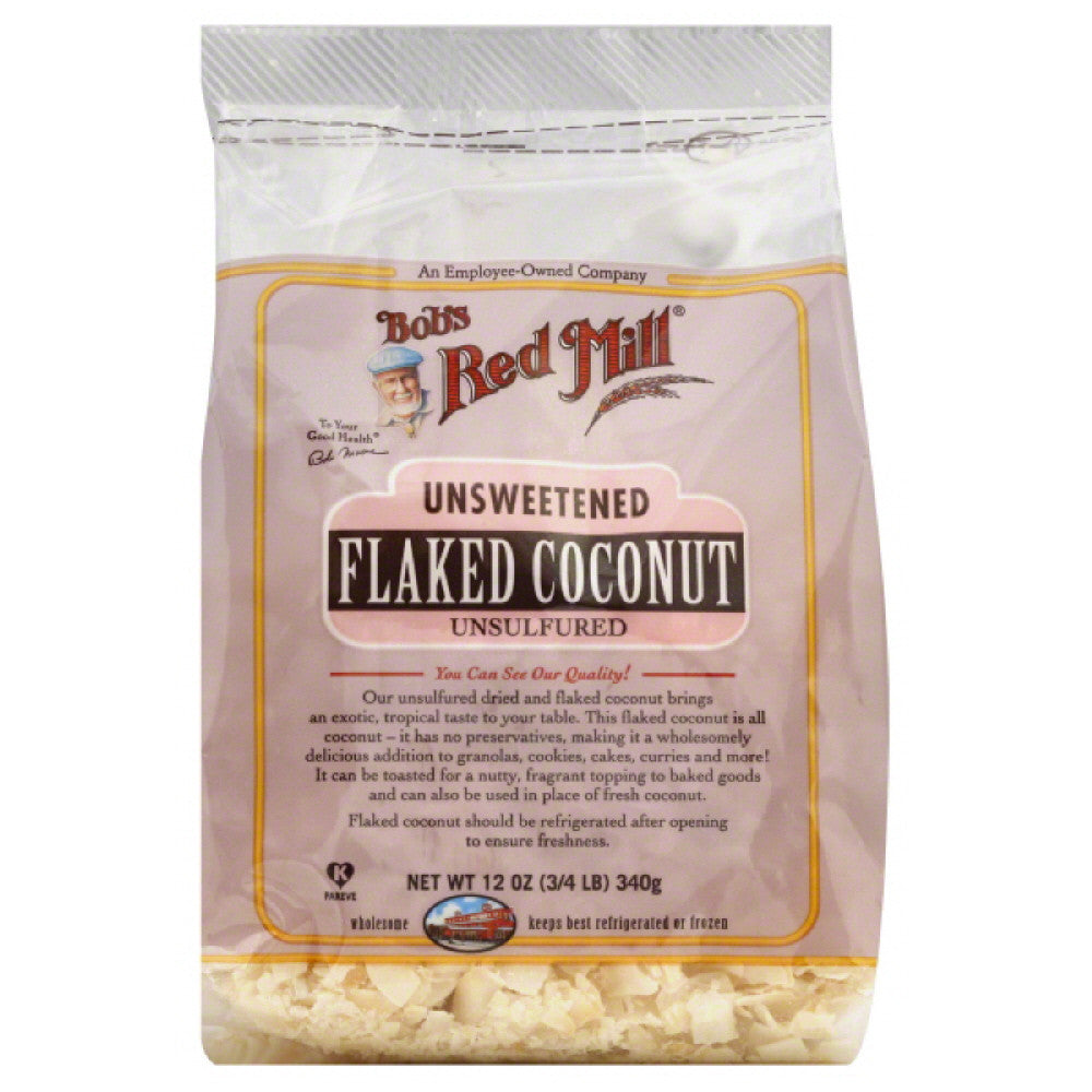 Bobs Red Mill Unsulfured Unsweetened Flaked Coconut, 12 Oz (Pack of 4)