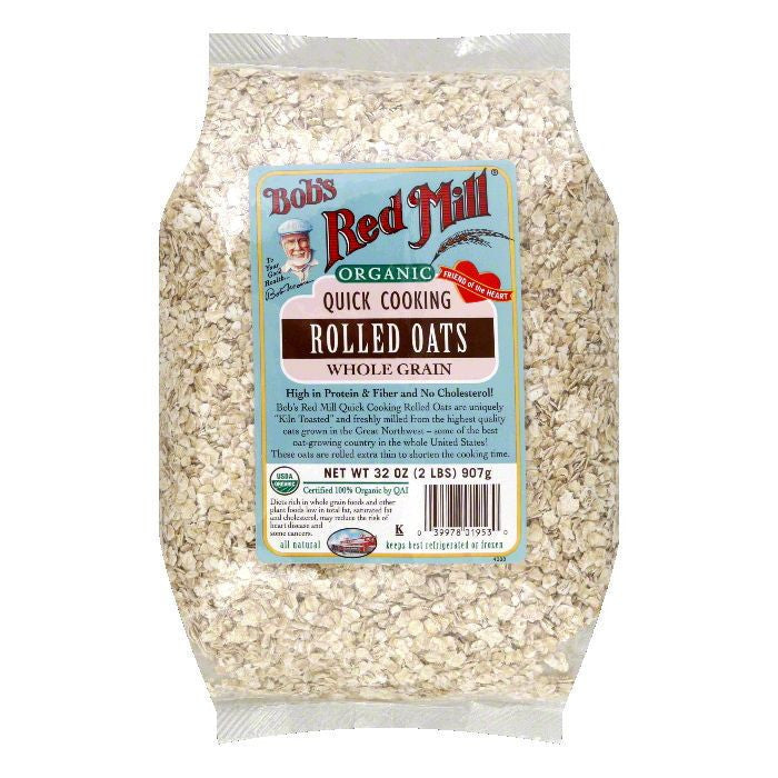 Bobs Red Mill Oats Rolled Quick Cooking Organic, 32 OZ (Pack of 4)