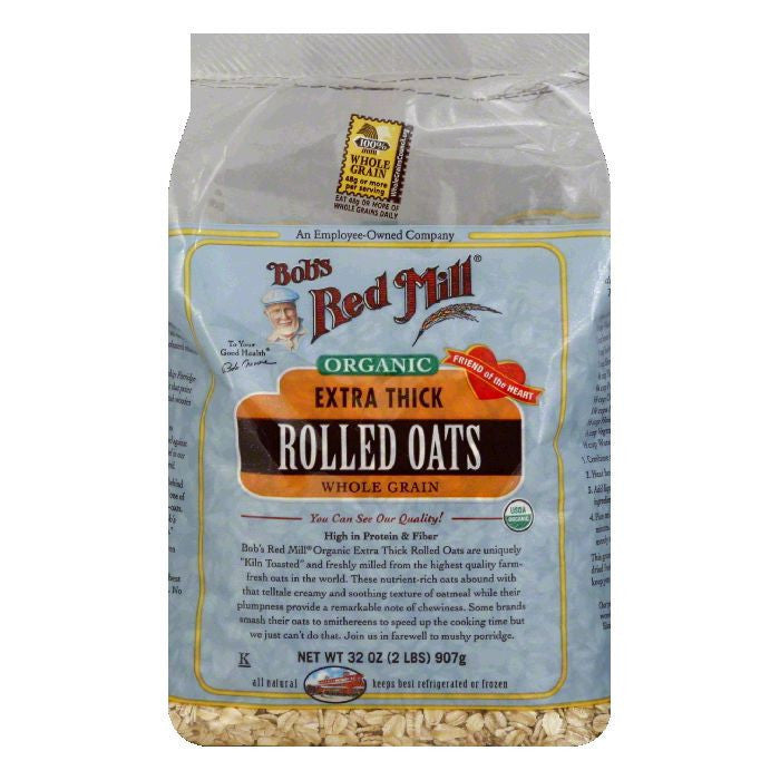 Bobs Red Mill Oats Rolled Thick Organic, 32 OZ (Pack of 4)