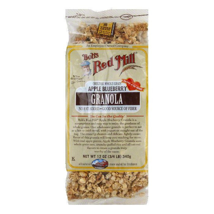Bobs Red Mill Granola Apple Blueberry NO-FAT ADDED, 12 OZ (Pack of 4)