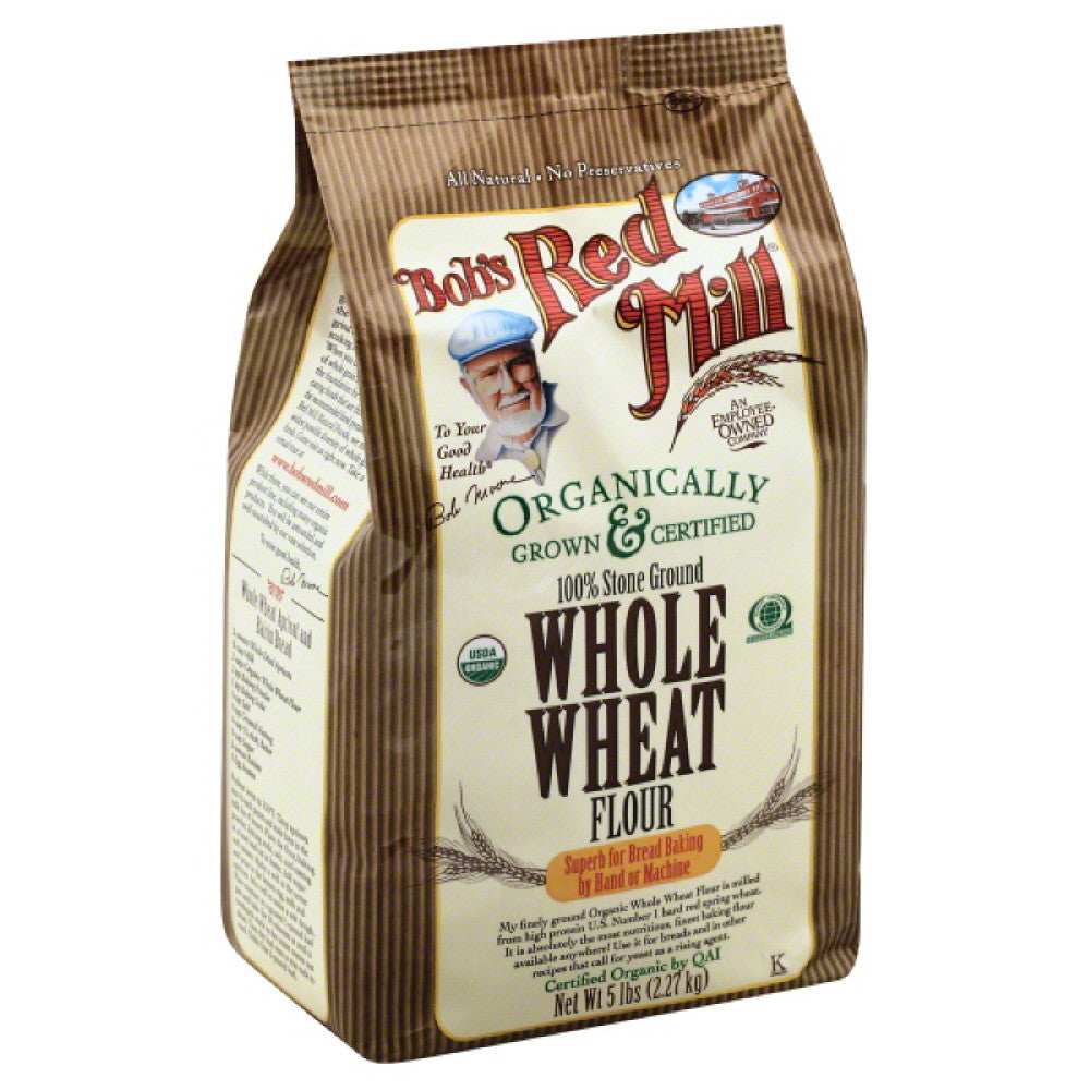 Bobs Red Mill 100% Stone Ground Whole Wheat Flour, 5 Lb (Pack of 4)