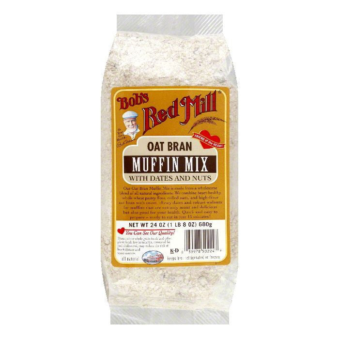 Bobs Red Mill Muffin Mix Oat Bran & Date Nut, 24 OZ (Pack of 4)