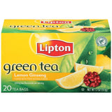 Lipton Lemon Ginseng Green Bags 20 ct  (Pack of 6)