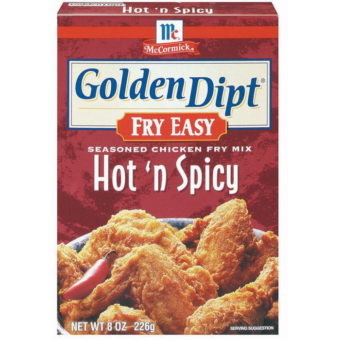 Golden Dipt Hot 'n Spicy Seasoned Chicken Fry Mix Fry Easy 8 Oz  (Pack of 12)