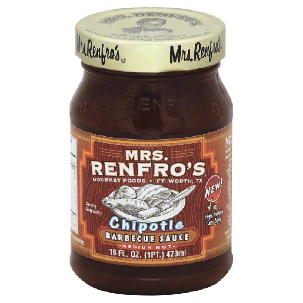 Mrs Renfros Medium Hot Chipotle Barbecue Sauce, 16 Oz (Pack of 6)