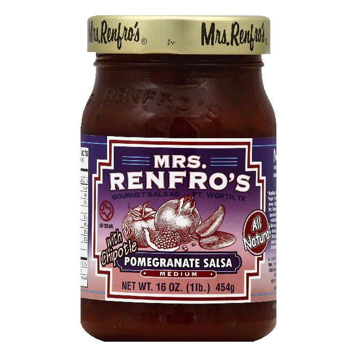 Mrs Renfros Medium Pomegranate Salsa, 16 OZ (Pack of 6)