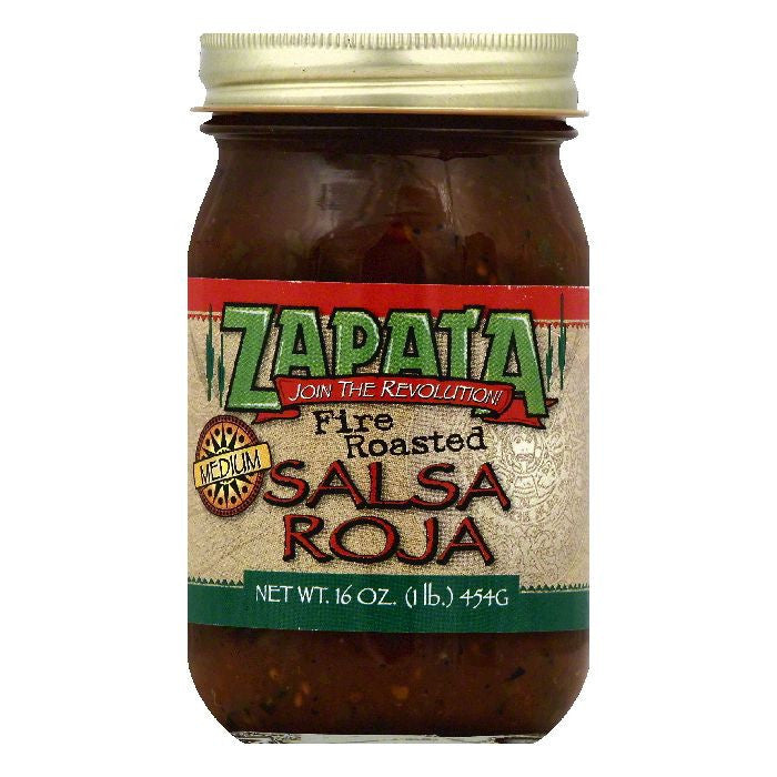 Zapata Medium Fire Roasted Salsa Roja, 16 OZ (Pack of 12)