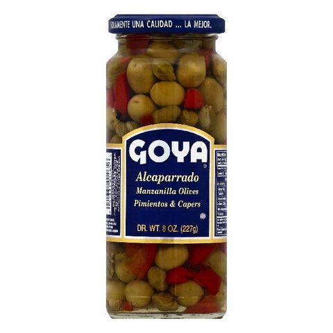 Goya Alcaparrado Pimientos & Capers Manzanilla Olives, 8 OZ (Pack of 24)