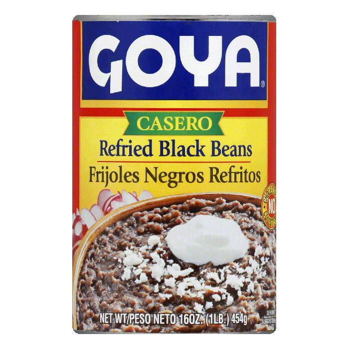 Goya Casero Refried Black Beans, 16 Oz (Pack of 12)