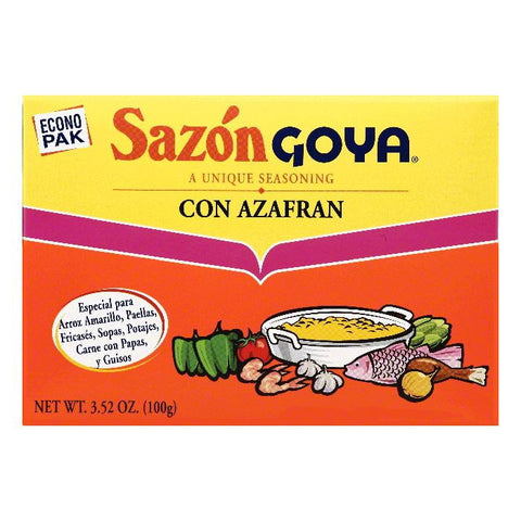 Goya Econo Pak Con Azafran Seasoning, 3.52 OZ (Pack of 18)