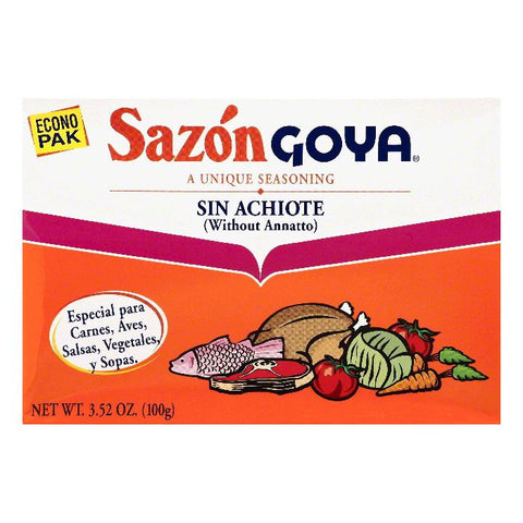 Goya Econo Pak without Annatto Seasoning, 3.52 OZ (Pack of 18)