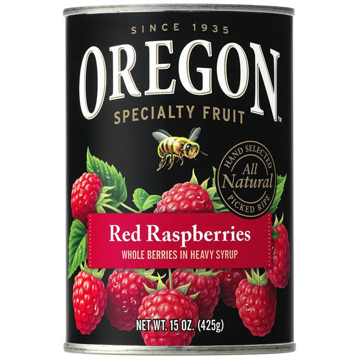 Oregon Fruit Products Red Raspberries in Heavy Syrup 15 Oz  (Pack of 8)