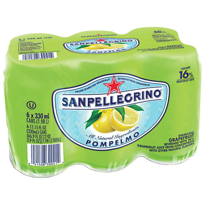 San Pellegrino Pompelmo Sparking Grapefruit Beverage 6-11.15 fl. Oz s (Pack of 4)