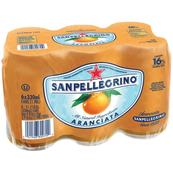 San Pellegrino Aranciata Sparking Orange Beverage 6-11.15 fl. Oz s (Pack of 4)