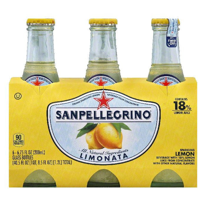 Sanpellegrino Limonata Lemon Sparkling Beverage, 6 ea (Pack of 4)