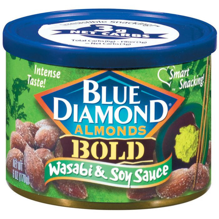 Blue Diamond Bold Wasabi & Soy Sauce Almonds 6 Oz  (Pack of 12)