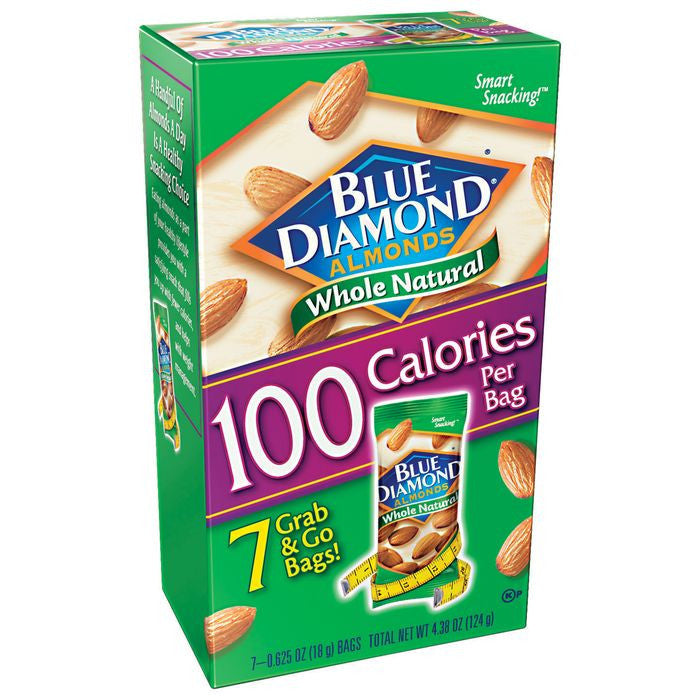 Blue Diamond Whole Natural .625 Oz Almonds 7 Ct  (Pack of 6)