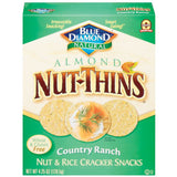 Blue Diamond Nut Thins Almond Country Ranch Nut & Rice Cracker Snacks 4.25 Oz  (Pack of 12)