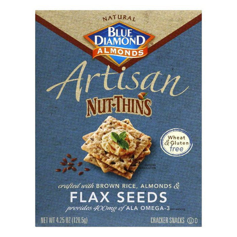 Blue Diamond Gluten Free Brown Rice & Flax Artisan Nut Thin Crackers, 4.25 OZ (Pack of 12)