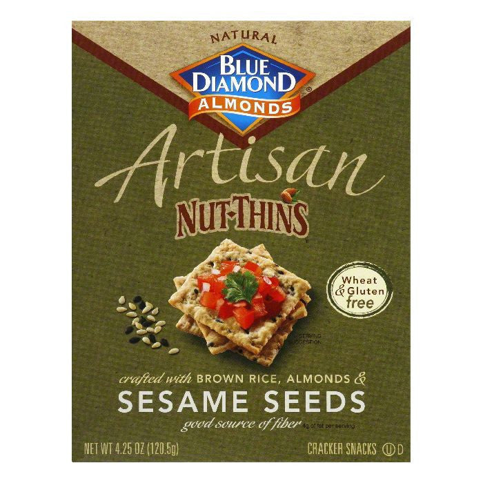 Blue Diamond Gluten Free Sesame Seed Nut Thin Crackers, 4.25 OZ (Pack of 12)