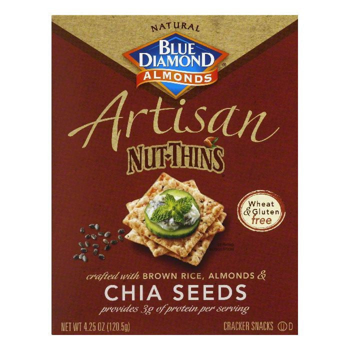 Blue Diamond Chia Seed Thin Nut Cracker, 4.25 OZ (Pack of 12)