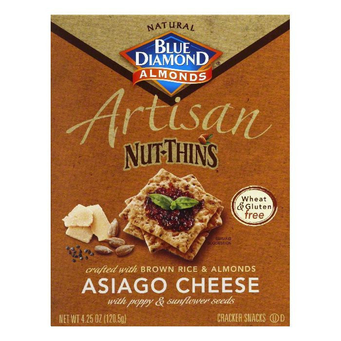 Blue Diamond Asiago Cheese Nut Cracker, 4.25 OZ (Pack of 12)