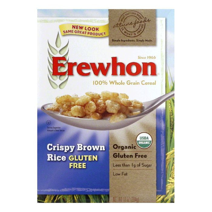 Erewhon Cereal Gluten-Free Crispy Brown Rice, 10 OZ (Pack of 12)