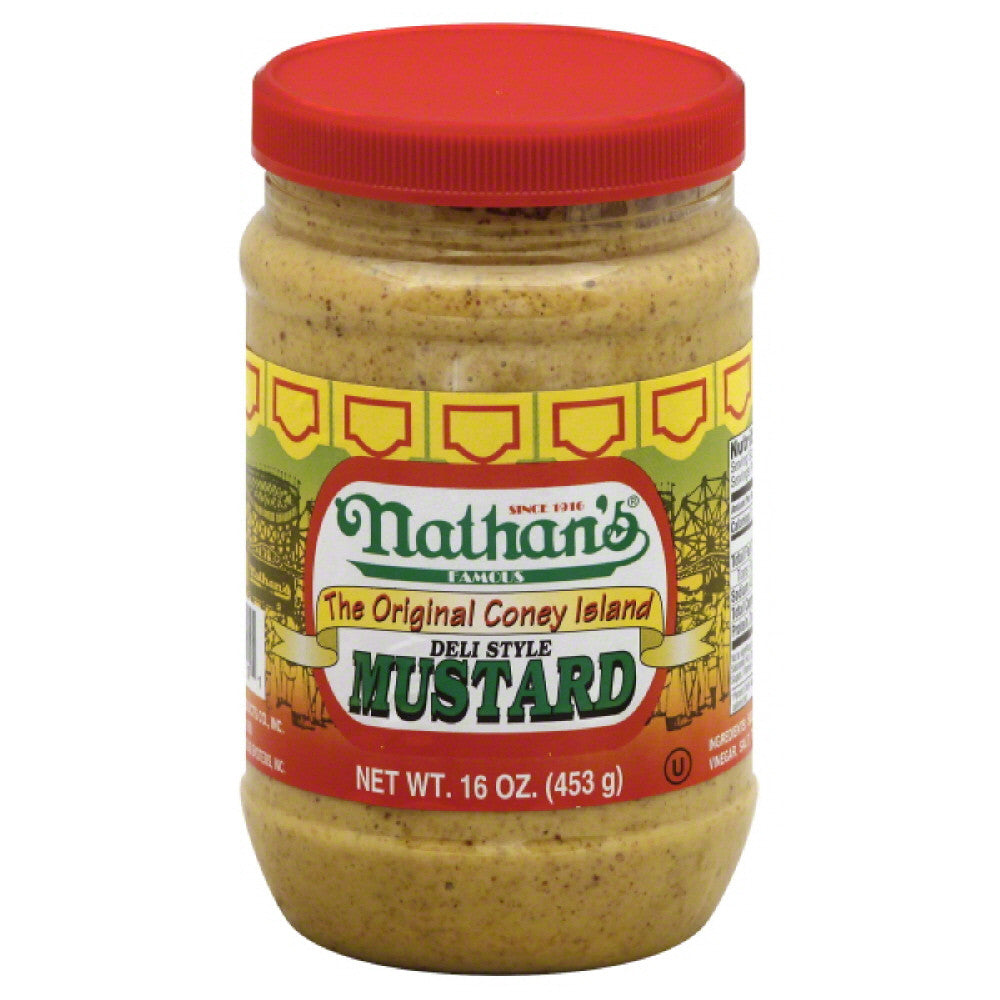 Nathans Deli Style Mustard, 16 Oz (Pack of 12)