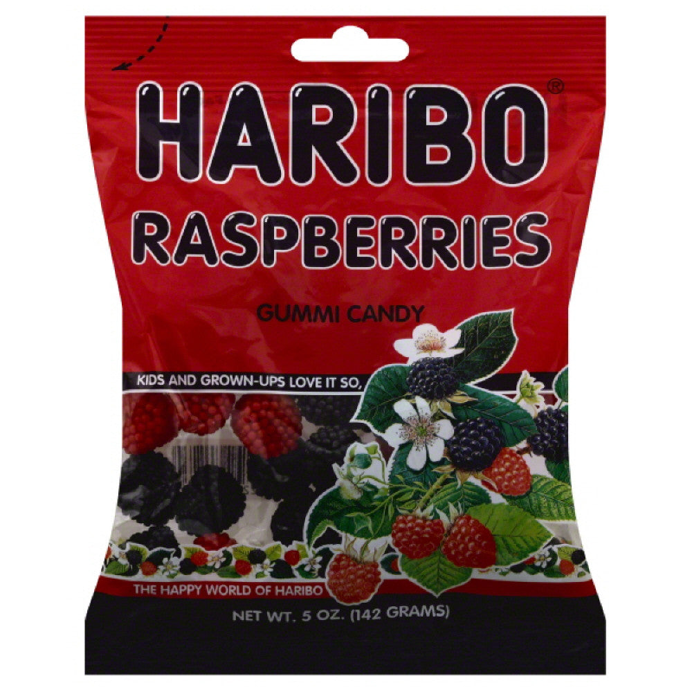 Haribo Raspberries Gummi Candy, 5 Oz (Pack of 12)