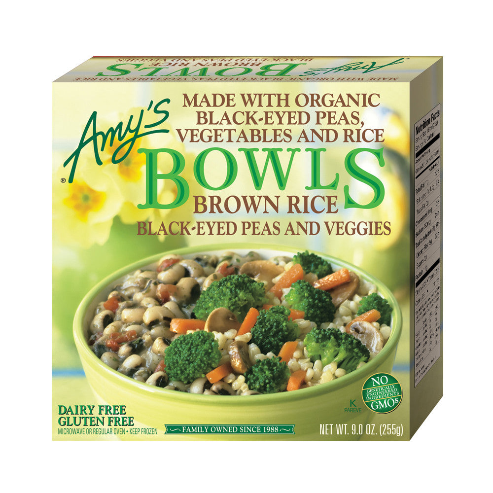 Amy's Kitchen Brown Rice, Black-Eyed Peas & Veggies Bowl, 9 Oz (Pack of 12)