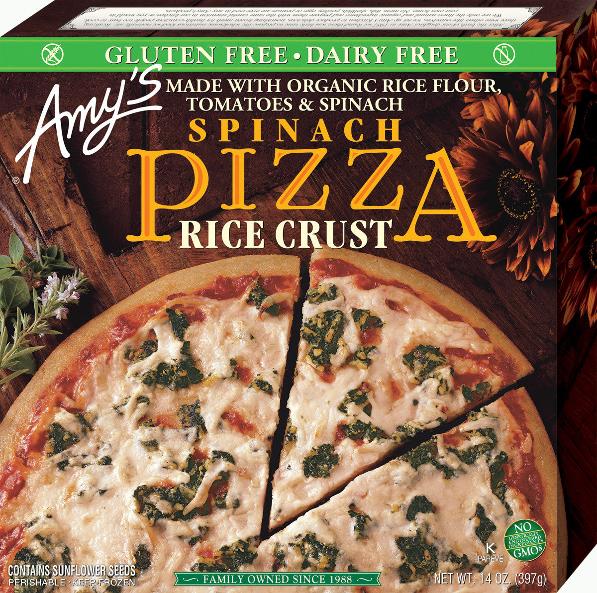 Amy's Kitchen Rice Crust Spinach Pizza, 14 Oz (Pack of 08)
