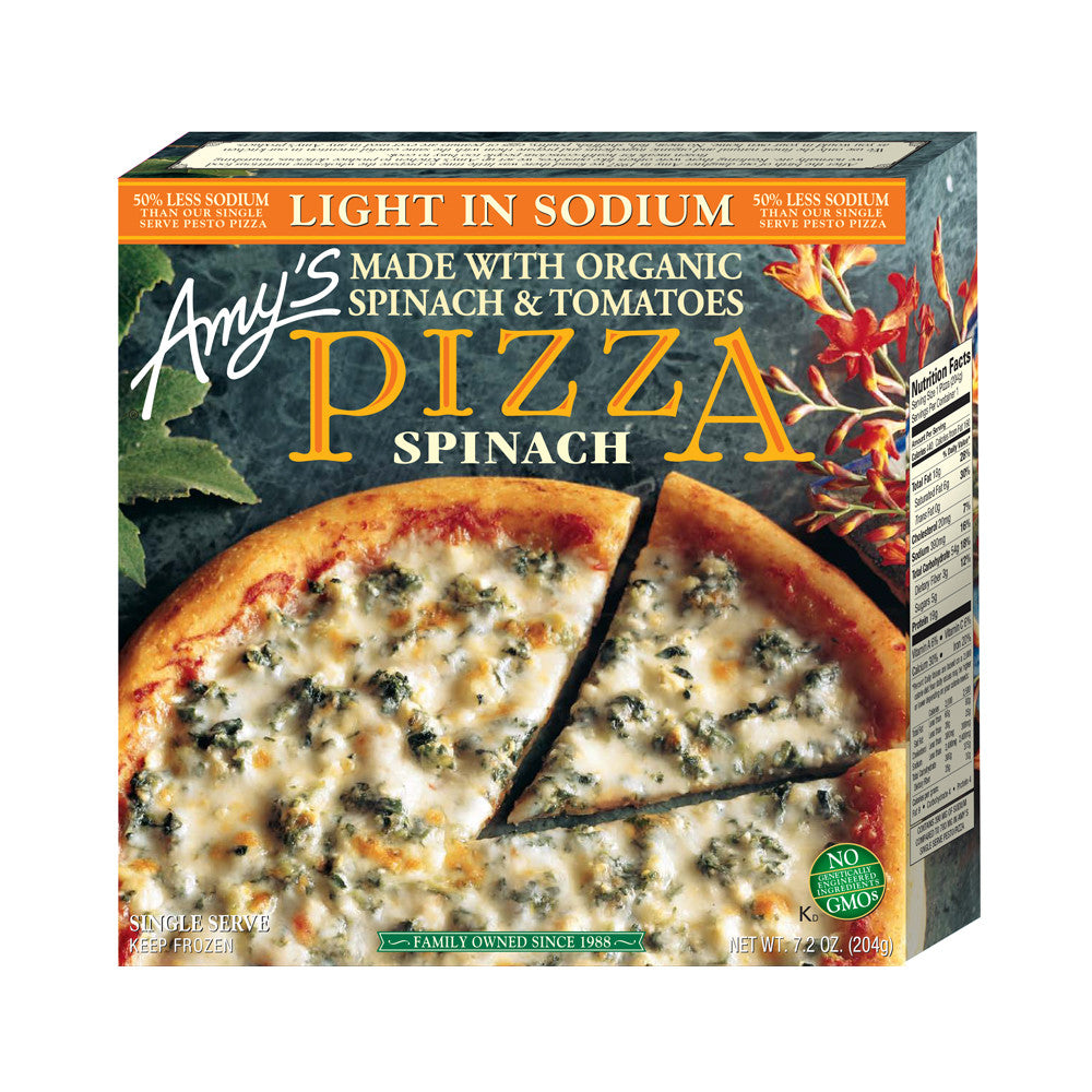 Amy's Kitchen Light in Sodium - Single Serve Spinach Pizza, 7.2 Oz (Pack of 12)