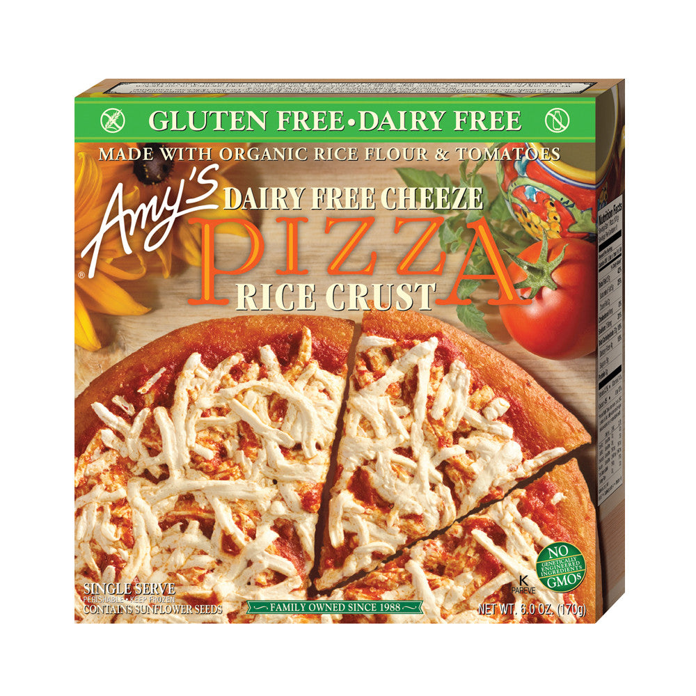 Amy's Kitchen Single Serve Non-Dairy Rice Crust Cheeze Pizza, 6 Oz (Pack of 12)