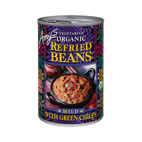 Amy's Kitchen Organic Refried Beans with Green Chiles, 15.4 Oz (Pack of 12)