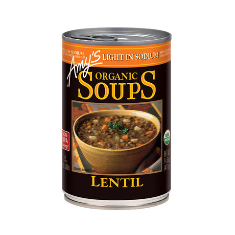 Amy's Kitchen Organic Light in Sodium - Lentil Soup, 14.5 Oz (Pack of 12)