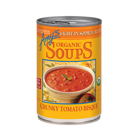 Amy's Kitchen Organic Light in Sodium - Chunky Tomato Bisque, 14.5 Oz (Pack of 12)