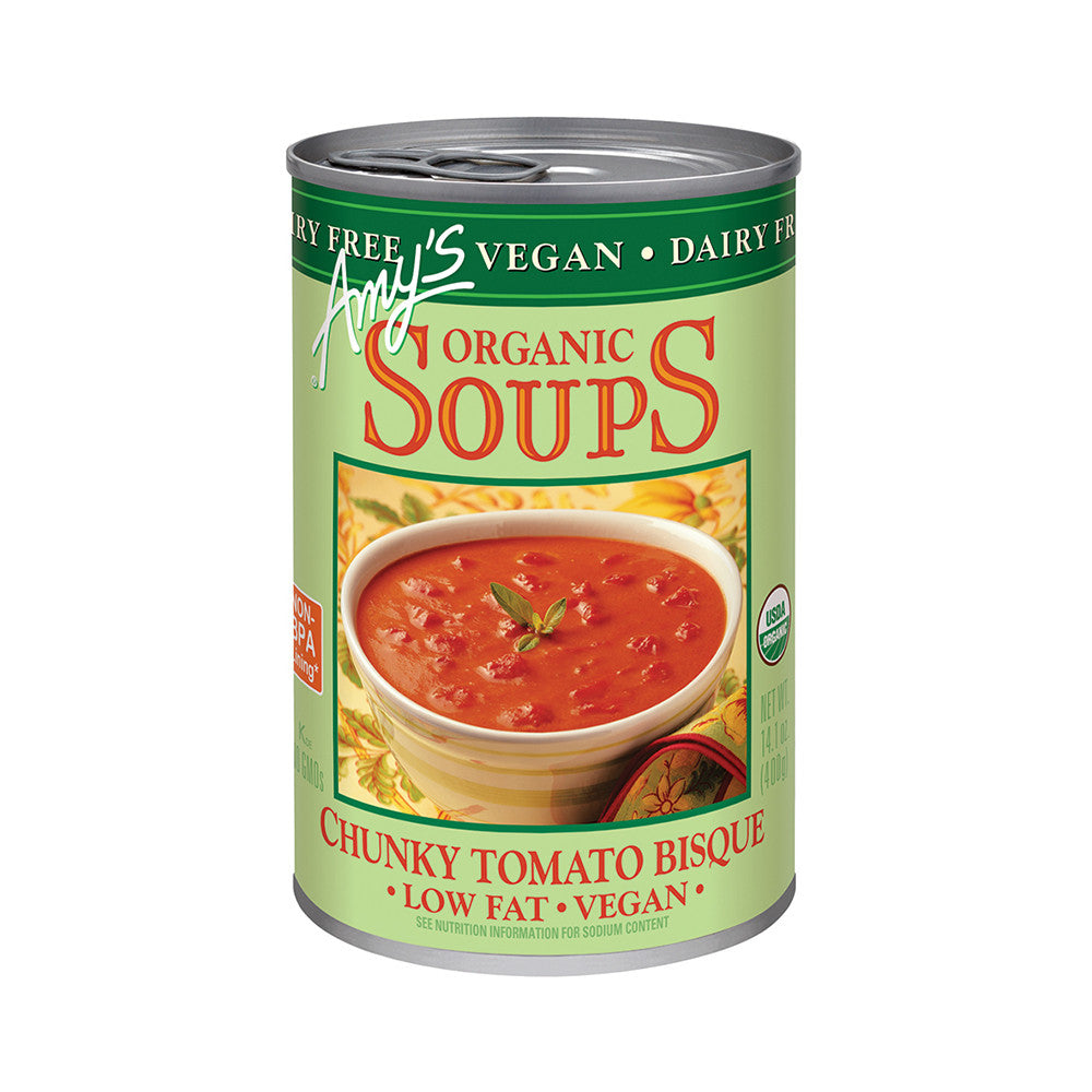 Amy's Kitchen Organic Vegan Chunky Tomato Bisque, 14.1 Oz (Pack of 12)