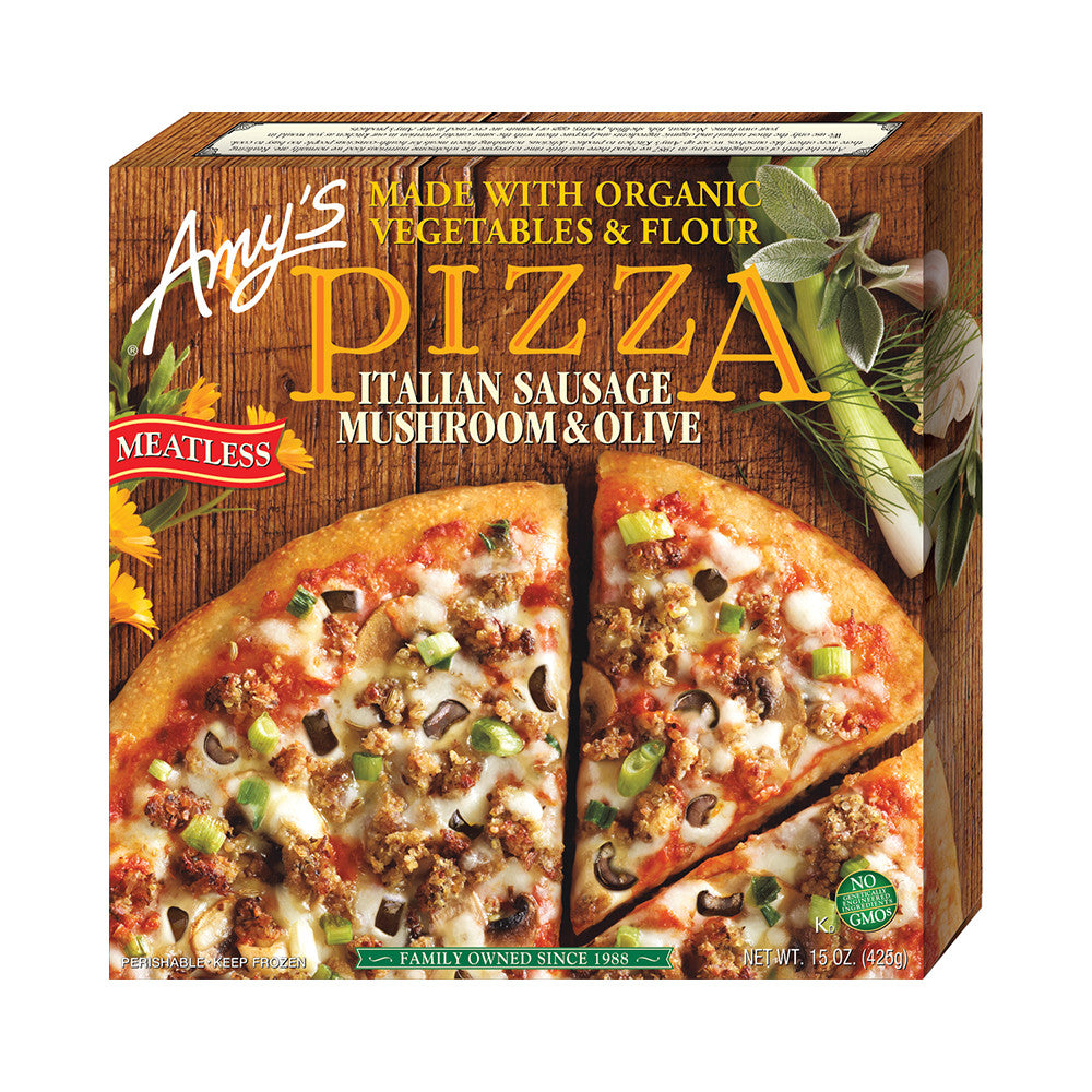 Amy's Kitchen Italian Sausage, Mushroom & Olive Pizza, 15 Oz (Pack of 08)