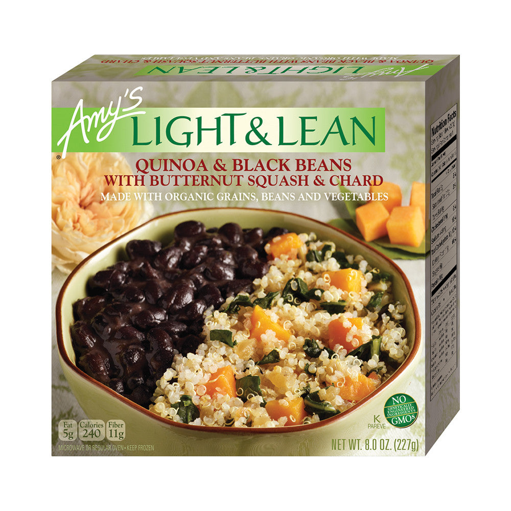 Amy's Kitchen Light & Lean Quinoa & Black Beans with Butternut Squash & Chard, 8 Oz (Pack of 12)
