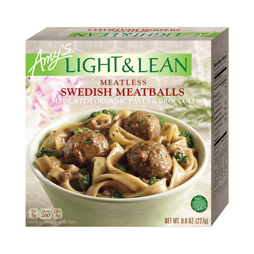 Amy's Kitchen Light & Lean Meatless Swedish Meatballs, 8 Oz (Pack of 12)