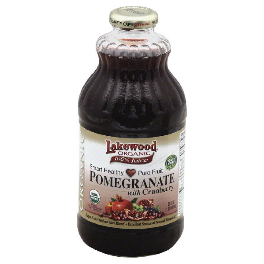 Lakewood Pomegranate with Cranberry Organic 100% Juice, 32 Fo (Pack of 12)