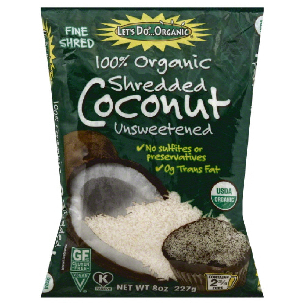 Lets Do Organic Unsweetened Shredded Coconut, 8 Oz (Pack of 12)