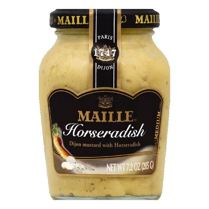 Maille Medium Dijon with Horseradish Mustard, 7.2 OZ (Pack of 6)