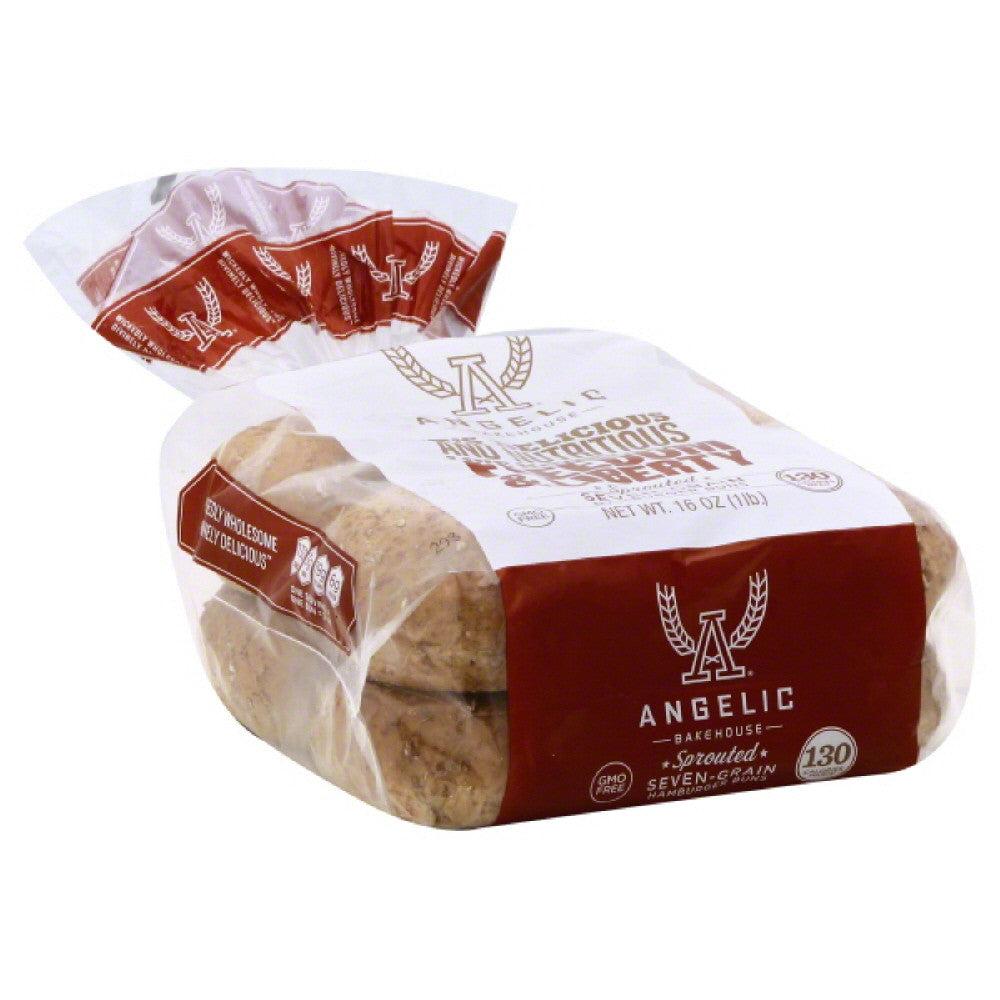 Angelic Bakehouse Sprouted Seven-Grain Hamburger Buns, 16 Oz (Pack of 6)
