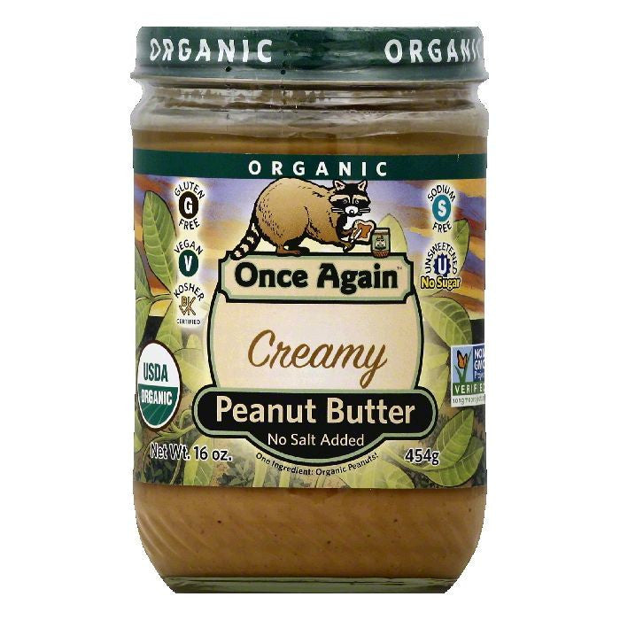Once Again No Salt Added Creamy Peanut Butter, 16 OZ (Pack of 6)