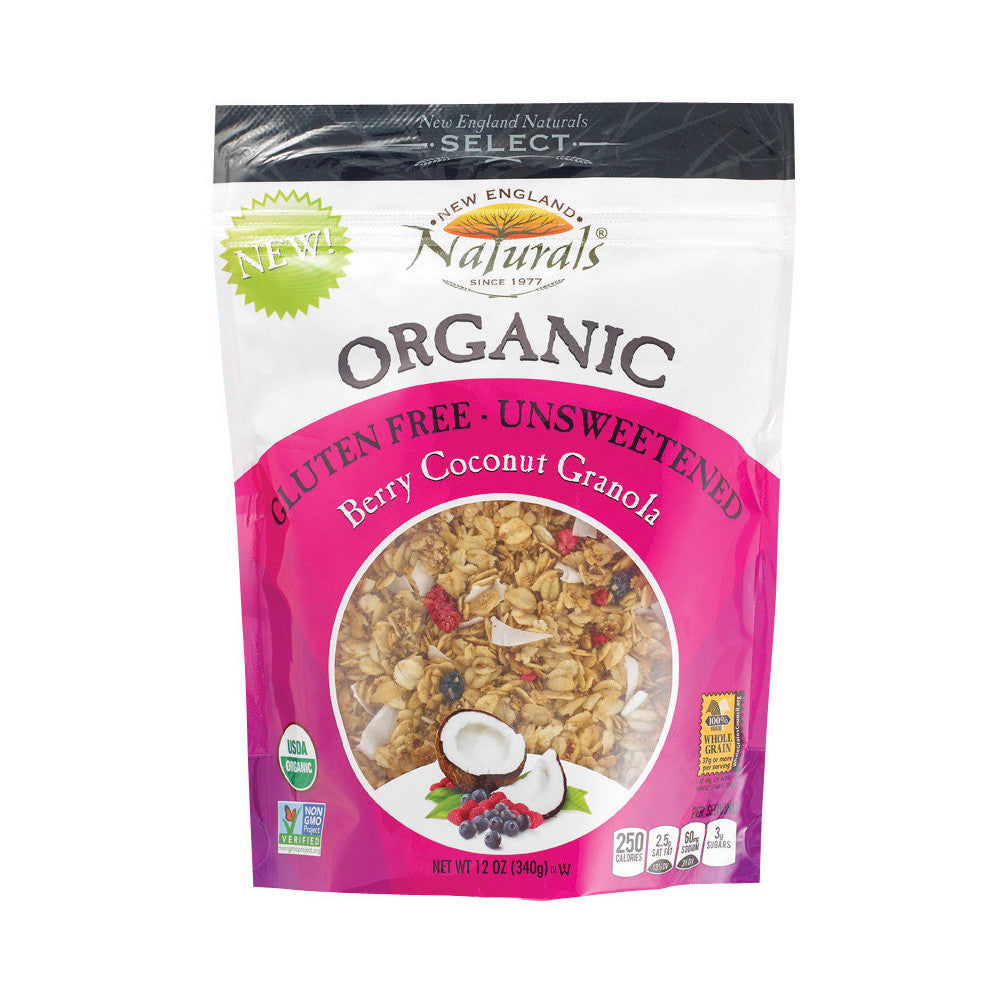 New England Naturals Gluten Free Unsweetened Berry Coconut Granola,12 OZ (Pack of 6)