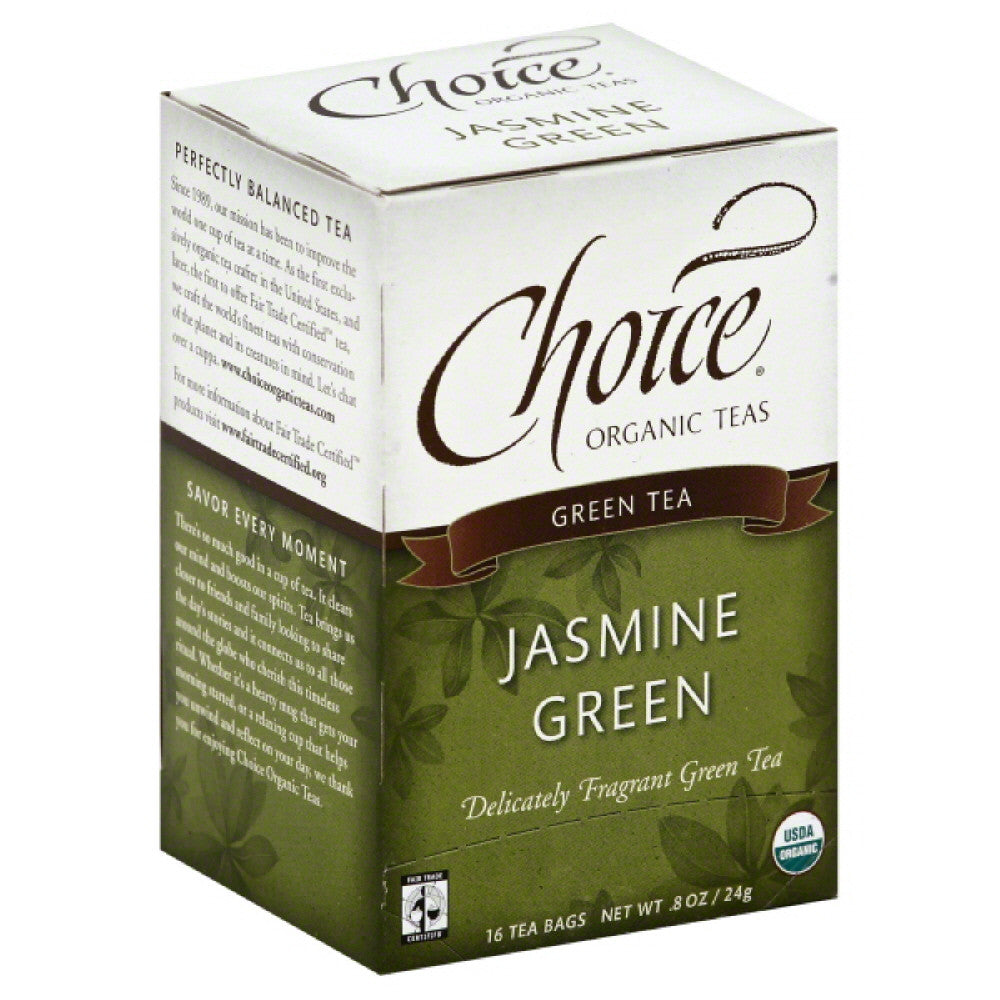 Choice Organic Teas Jasmine Green Green Tea Bags, 16 Bg (Pack of 6)