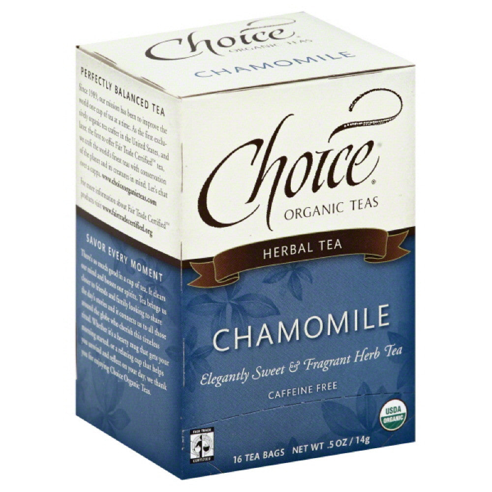 Choice Organic Teas Caffeine Free Chamomile Herbal Tea Bags, 16 Bg (Pack of 6)