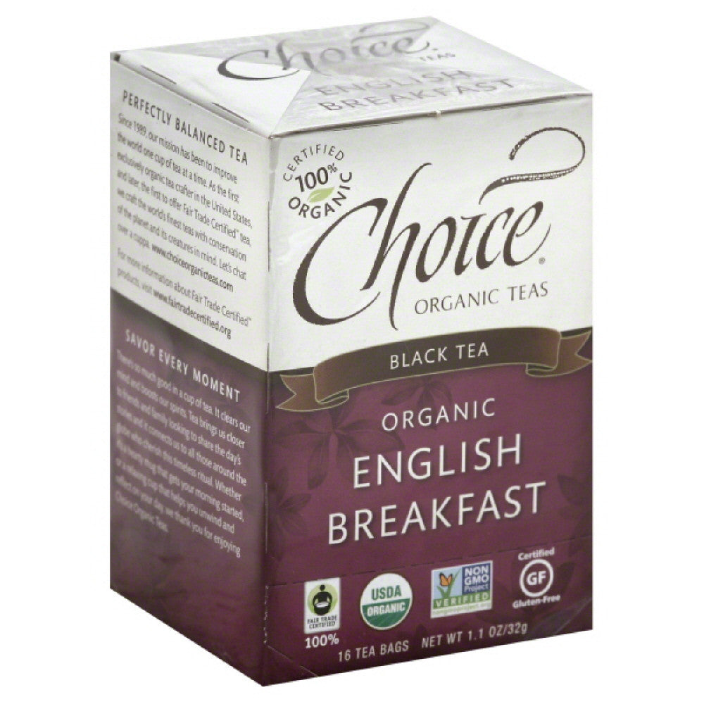 Choice Organic Teas English Breakfast Organic Black Tea Bags, 16 Bg (Pack of 6)